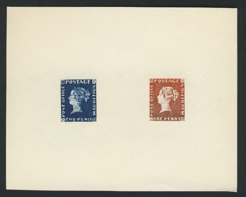 Mauritius 1847 1d red and 2p blue Queen Victoria Compound Die Proofs on card
