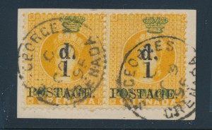 Grenada #28 pair on piece