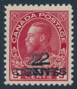 Canada #140b triple surcharge error