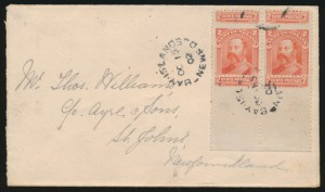Newfoundland #82 pair on cover with partial stamps above