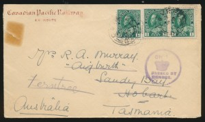 Canada #104b pair and single on cover