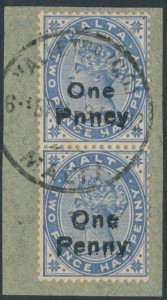 Malta #20a, 20b on piece
