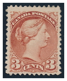 Lot 104, 1871 3c deep rose on thick, soft paper
