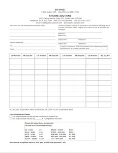 Bidsheet (download & mail or fax to us)
