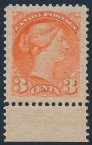 Lot 116 Canada 1890s three cent vermilion Small Queen, XF NH, sold for $431