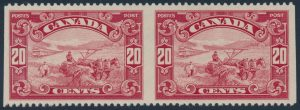 Lot 306 Canada #157b 1929 20c dark carmine Harvesting Wheat, Imperforate Vertically VF NH pair
