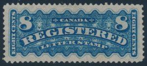 Lot 419 Canada #F3 1876 8c blue Registration, VF lightly hinged