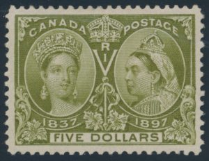 Lot 548 1897 $5 olive green Jubilee, deep fresh colour, very fine. A lovely stamp.