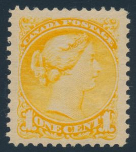 Lot 96 Canada #35 1890s 1c yellow Small Queen, XF NH, sold for $345