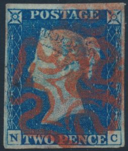 Lot 2040, Great Britain 1840 two penny blue, used VF with Maltese Cross