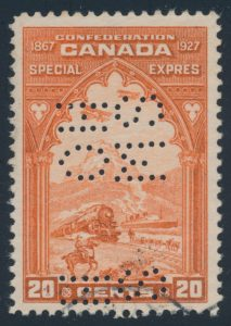 Lot 307 1927 20c orange Special Delivery, F-VF used, sold for $518