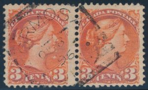 Lot 3330, Canada 1896 three cent Small Queen pair with FORMOSA ONT Hmr II, St. 1 squared circle