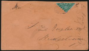 Lot 342, Nova Scotia 1860 six pence dark green bisect on cover, Wilmot to Bridgetown