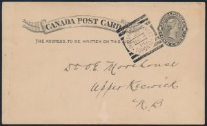 Lot 3529, Canada 1893 Parliament Street Toronto squared circle on postcard, RF 70