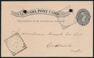 Lot 3552, Canada 1897 postcard with WATERDOWN ONT. squared circle