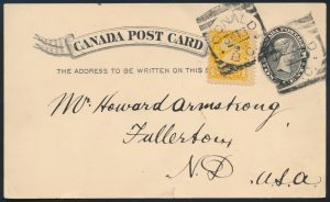 Lot 3699 Canada 1c postcard with 1896 Donald BC squared circle
