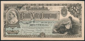 Lot 65, Canada 1888 Bank Note Company Queen Victoria sample card
