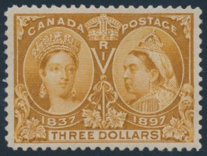 Lot 101, Canada 1897 three dollar yellow bistre Jubilee, XF NH, realized $6670
