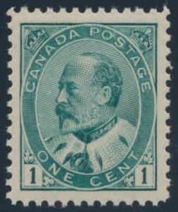 Lot 138, Canada 1903 one cen blue green KEVII, XF NH, realized $489