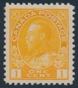 Lot 168, Canada 1922 one cent orange yellow Admiral, wet printing, XF NH, realized $161