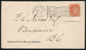 Lot 2292 Montreal 1896 F1-1 flag cancel on 3c Small Queen CPR cover to Vancouver, sold for $2,185.