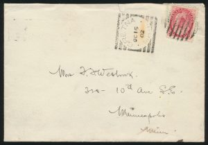 Lot 3627, GRETNA MAN. 1902 squared circle on cover to Minneapolis, sold for $431