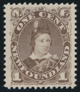 Lot 371, Newfoundland 1896 one cent brown Prince of Wales, XF NH, realized $575