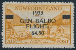 Lot 381, Newfoundland 1933 $4.50 on 75c bistre Balbo surcharge, inverted watermark, VF NH, realized $2070