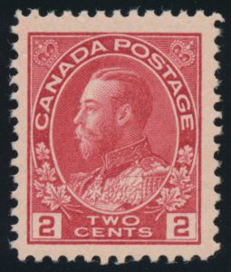 Lot 607, Canada 1915 two cent orange red Admiral, VF NH, realized $219