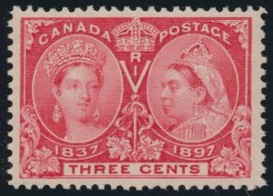 Lot 89, Canada 1897 three cent bright rose Jubilee, XF NH, realized $150
