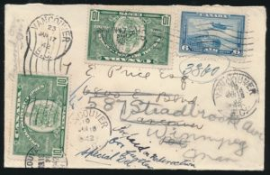 Lot 2261, Canada 1942 cover with Special Delivery paid twice, airmail, etc. realized $161