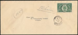 Lot 2279, Canada 1939 ten cent Special Delivery OHMS perfin on cover, sold for $104