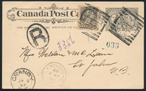 Lot 3203, GRANBY QUE. 1897 squared circle, two VF strikes on postcard, realized $1322