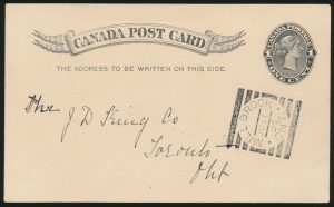 Lot 3408, Canada 1895 MILL BROOK ONT. squared circle on postcard, realized $432