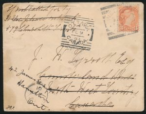Lot 3560, 1893 WESTON ONT. squared circle on cover, sold for $402