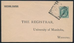Lot 3633, McGREGOR STATION MAN. squared circle on voting paper cover, sold for $345