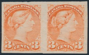 Lot 525, Canada 1891 three cent vermilion Small Queen imperf pair, OG, realized $288