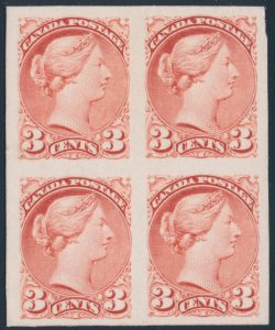 Lot 74, Canada 1870s three cent rose Small Queen plate proof block, realized $2990