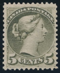 Lot 75, Canada 1880-82 five cent slate green Small Queen, F-VF NH, sold for $1955