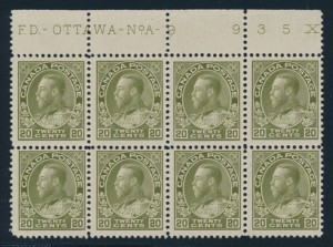 Canada #119iv block of eight