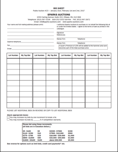 Bidsheet (Print and mail or fax to us)