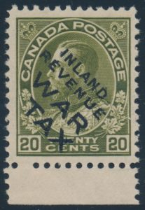 Lot 292, Canada 1915 twenty cent olive green Admiral Inland Revenue War Tax, VF NH, sold for $518
