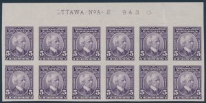 Lot 301, Canada 1927 five cent Laurier mint XF marginal block of twelve, sold for $1,955