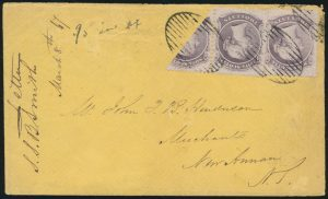 Lot 344 Nova Scotia #9, 9b Two cent lilac Queen Victoria bisect on 1867 Cover