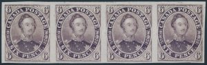 Lot 7, Canada 1857 six pence Consort trial colour plate proof strip of four in red purple