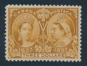 Lot 101 Canada #63 1897 $3 yellow bistre Jubilee, XF NH, sold for $6,670