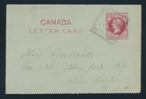 Lot 3165, Canada 1894 CLIFTON N.B. squared circle on letter card, sold for $288
