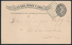 Lot 3228, Canada 1895 NOTRE DAME ST. WEST squared circle on postcard, sold for $432