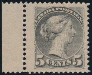 Lot 80, Canada 1891 five cent grey Small Queen, XF NH, realized $1092