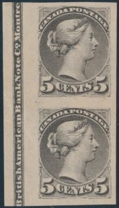 Lot 81, Canada 1891 five cent grey Small Queen imperf vertical imprint pair, XF NG, realized $1092